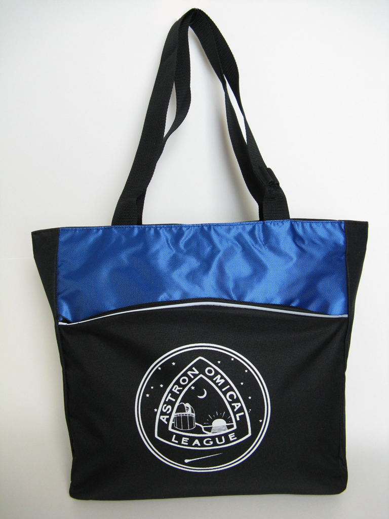 AL Nylon Tote - zippered, Black with royal accents