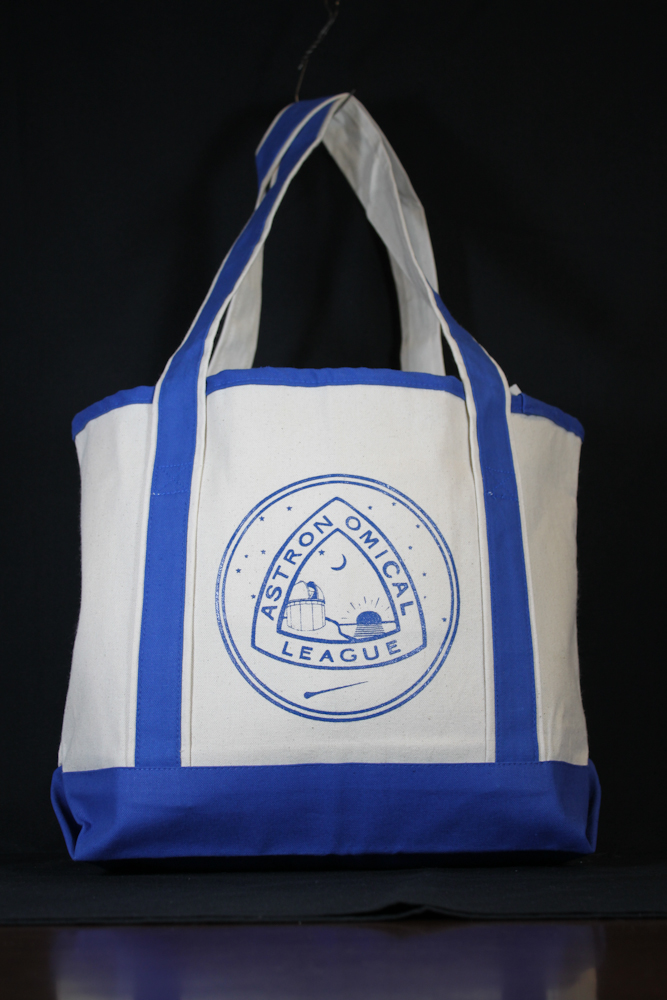 AL Canvas Tote - open top, Natural with royal accents